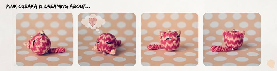 Snící čubaka růžová - Polymerová kočička